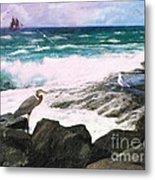 An Egret's View Seascape Metal Print