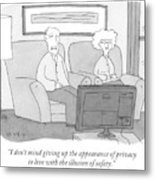 An Elderly Couple Watches Television Metal Print