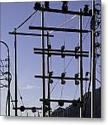 An Electric Transmission Pole In The Himalayas Metal Print