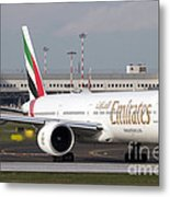An Emirates Boeing 777 At Milano Metal Print