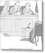 An Empty Suit Sits On A Chair In Court Metal Print