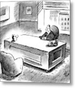 An Executive Sits At His Desk And An Employee's Metal Print