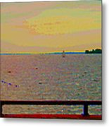 An Expanse Of Sky And Sea Twilight Fishing The Canal St Lawrence River Scenes Art Carole Spandau Metal Print