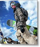 An Extreme Snowboarder Stands Metal Print