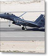 An F-15c Eagle Landing On The Runway Metal Print