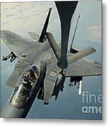 An F-15e Strike Eagle Receives Fuel Metal Print