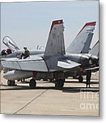 An Fa-18c Hornet Being Readied Metal Print