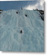 An Ice Climber In The Middle Metal Print