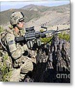 An Infantryman Provides Overwatch Metal Print