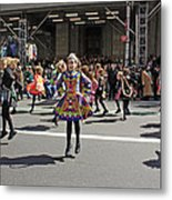 An Irish Dance Group Flying High While Dancing At The 2009 St. Patrick Day Parade Metal Print