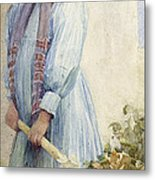 An Italian Peasant Girl Metal Print by Ada M Shrimpton