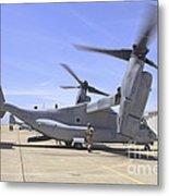 An Mv-22 Osprey Taxiing At Marine Corps Metal Print