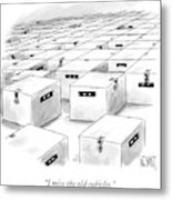 An Office  Full Of Locked Boxes With Eyes Looking Metal Print