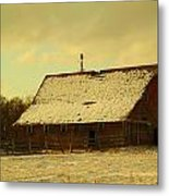 An Old Barn Just After An Early Spring Snow In Keene North Dakota  Metal Print