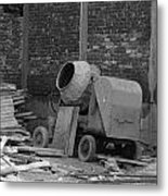 An Old Cement Mixer And Construction Material Metal Print