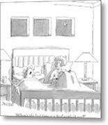 An Old Couple Sits In Bed Below Three Windows Metal Print