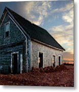 An Old Farm House Sits Partially Buried Metal Print