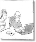 An Old Man And Old Woman Sit At A Laptop Metal Print