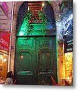 An Old Ornate Wooden Door In Paris France Metal Print