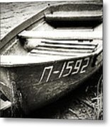 An Old Row Boat In Black And White Metal Print