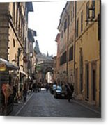 An Old Street In Assisi Italy  Metal Print