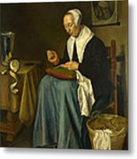 An Old Woman Seated Sewing Metal Print