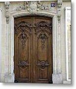 An Ornate Door On The Champs Elysees In Paris France   Metal Print