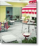 An Outside Area Set Up For A Party Metal Print