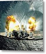 An Overhead View Of The Battleship Uss Iowa Bb61 Firing All 15 Of Its Guns Metal Print