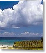 Anakena Beach With Ahu Nau Nau Moai Statues On Easter Island Metal Print