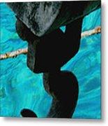 Ancher In Water Santorini Greece Metal Print