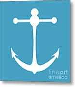 Anchor In White And Turquoise Blue Metal Print