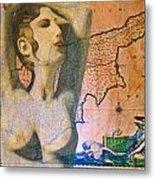 Ancient Cyprus Map And Aphrodite Metal Print