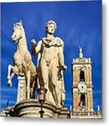 Ancient Marble Sculpture Of Castor At The Cordonata Stairs  Metal Print