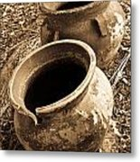 Ancient Pottery In Sepia Metal Print