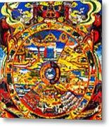 Ancient Tibetan Tangka Wheel Of Life Metal Print