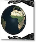 Android Hands Keep Earth Globe Safe On White Background Metal Print