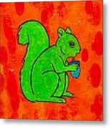 Andy's Squirrel Green Metal Print