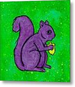 Andy's Squirrel Purple Metal Print