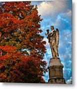 Angel And Boy In Foliage Scenery Metal Print