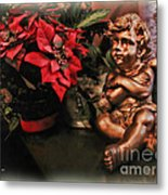 Angel And Poinsettia Metal Print