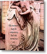 Angel Art - Memorial Angel Weeping Sorrow At Grave With Inspirational Message - Memories Are Forever Metal Print