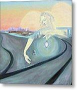 Angel Bringing Light To Meditating Woman At The Train Tracks Metal Print