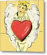 Angel Red Heart Metal Print