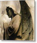 Angel Wings Praying - Spiritual Angel In Clouds Metal Print