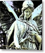 Angel With A Red Rose Metal Print