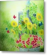 Angel With Butterflies And Sunflowers Metal Print
