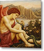 Angel With Serpent Metal Print by Evelyn De Morgan