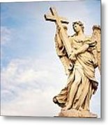 Angel With The Cross In Ponte St Angelo  Metal Print