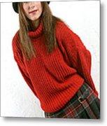 Angela Plaid Skirt Metal Print